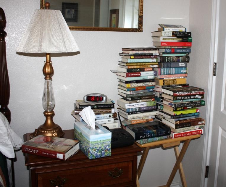 bedside book stacks
