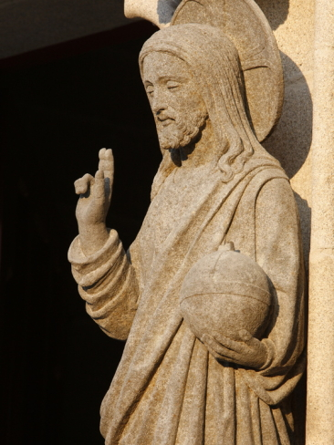 sculpture-of-the-risen-christ-holding-the-world-saint-corentin-cathedral-brittany-france