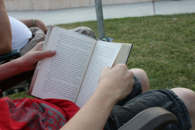 grandson reading in the parik